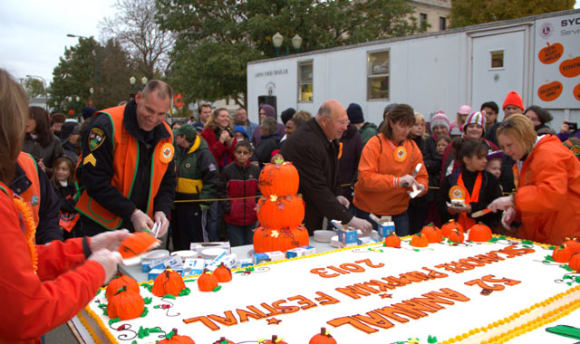 An 8-foot-long cake marks a sweet kickoff at last year's Sycamore Pumpkin Festival. (Sycamore Pumpkin Festival photos)