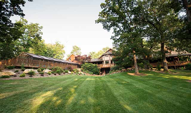 The lodge at Kilbuck Creek, in Monroe Center, Ill., began as a family home before it became a rustic retreat for families, organizations and weddings.