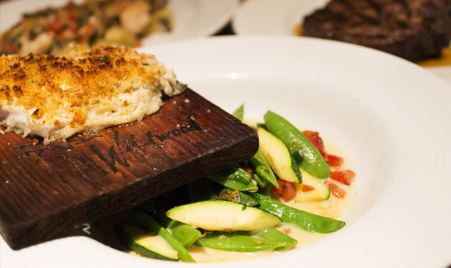 The upscale American menu at Wildwood, in Geneva, maintains a careful balance of red meat and seafood dishes.